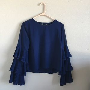 Lulu's Navy Blue Bell Sleeve Flowy Blouse Top